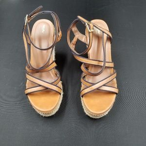 Mossimo Womens Tan Espadrilles Wedge Sandals 8 1/2